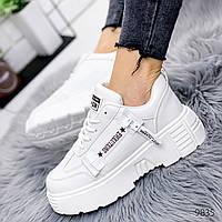 Женские белые кроссовки на удобной платформе, ОВЛ 9835, фото 1