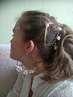 Серьги кольца с цветами и жемчугом ручной работы, фото 1