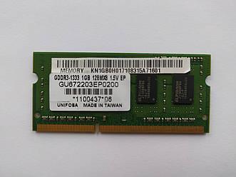 Оперативная память для ноутбука SODIMM Unifosa DDR3 1Gb 1333MHz PC3-10600S (GU672203EP0200) Б/У