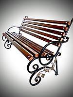 Лавочка - скамейка Еліт Ковка «Гілочка» в металевому каркасі розбірна з спинкою Вишнева (P00L 001)