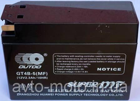 Акумулятор гелевий YT4B-5 (MF) 12V 2.3 Ah/10HR 110x85x38 OUTDO (Сузукі/Ямаха)