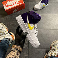 🔥 Nike Air Force 1 High Violet White Белый Найк Аир Форс 1 🔥 Найк мужские кроссовки 🔥