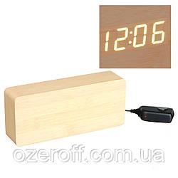 Настольные часы Led Woden Clock (VST-865-1) Бежевые с желтыми цифрами