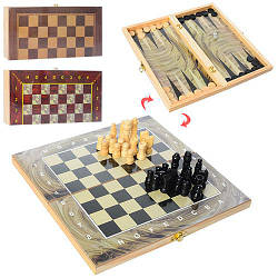 Шахматы шашки нарды деревянные Clasic 3 в 1 (28ACD)