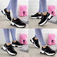 Женские кроссовки Zachary черные 1378  эко-кожа эко-замша  Размер 40 - 25 см по стельке, обувь женская