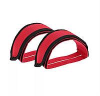 Ремни для педалей Стрепы (Туклипсы) велосипедные ремешки, Красный