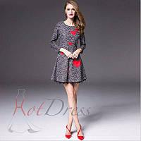Платье-клеш Dolce Gabbana с цветочным принтом и аппликациями в виде сердечек. Люкс качество (M  размер)
