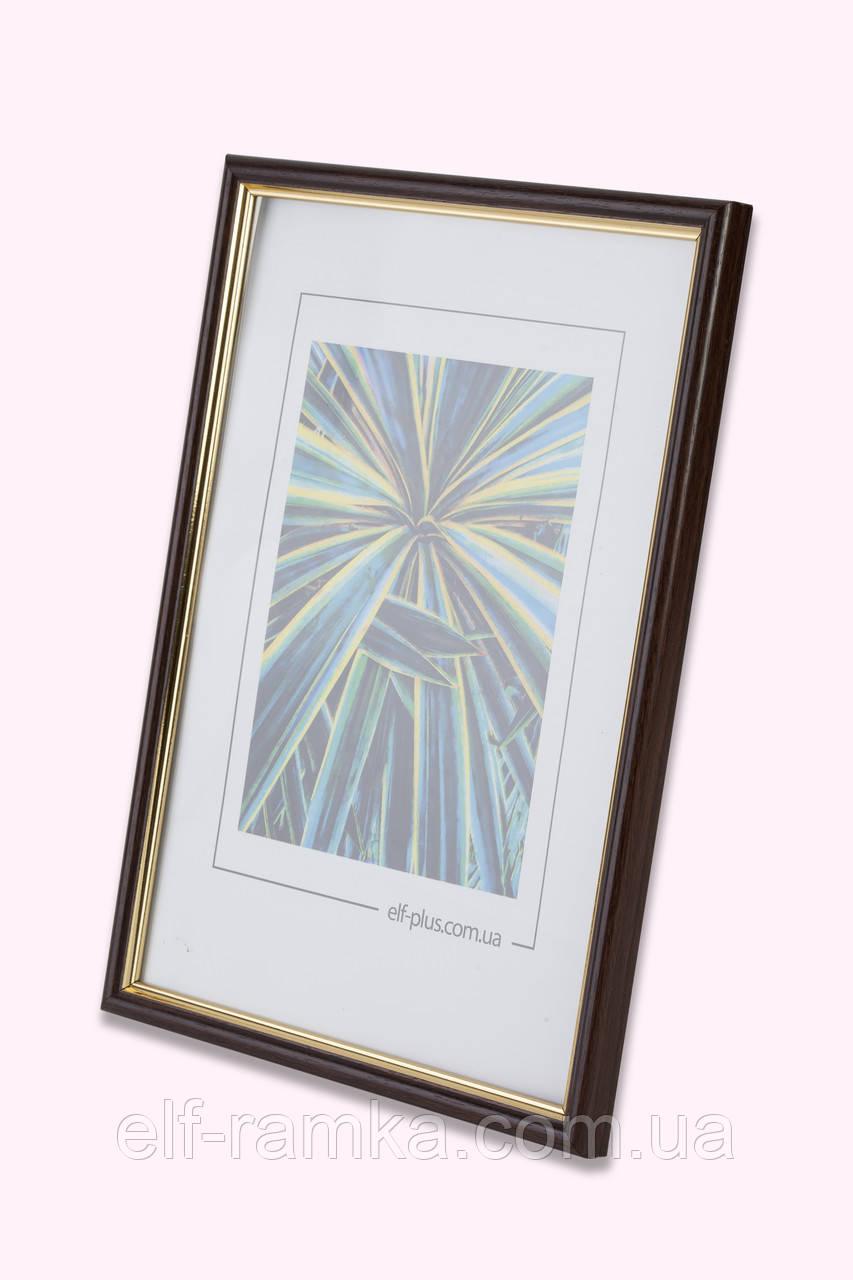Рамка 25х25 из пластика - Коричневый тёмный с золотом - со стеклом