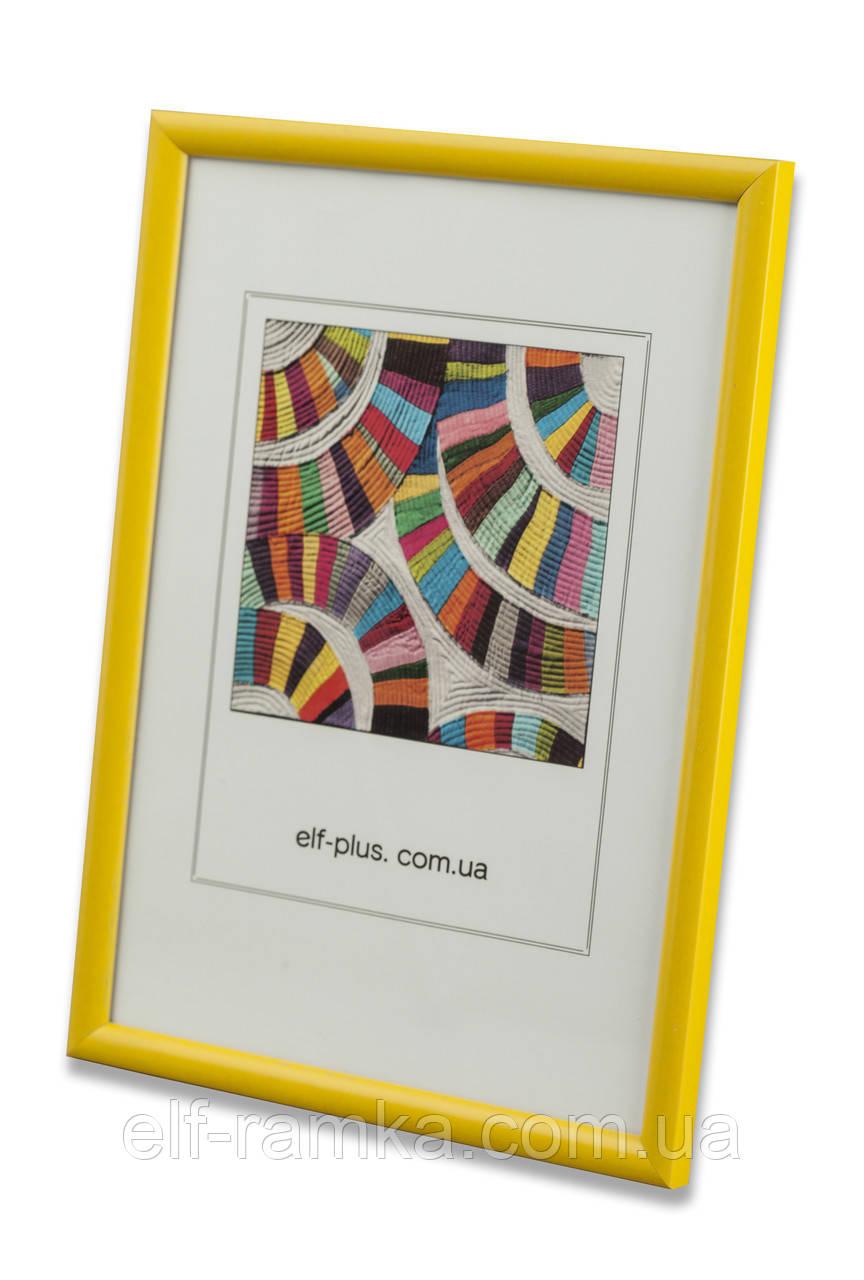 Рамка 25х25 из пластика - Жёлтая - со стеклом