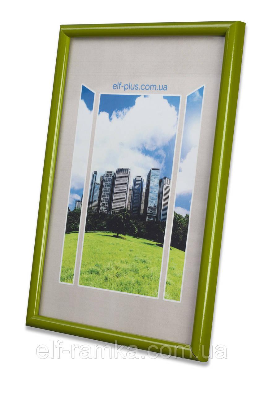 Рамка 25х25 из пластика - Зелёный салатовый - со стеклом