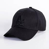 Кепка Бейсболка LA (Лос-Анджелес) Повністю Чорна 2, Унісекс, фото 1