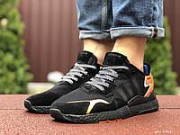 Мужские кроссовки Adidas Nite Jogger Boost 3M черные с оранжевым