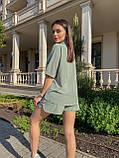 Костюм женский летний с шортами  Размеры 42-44, 46-48 Цвета: горчица, оливка, фото 5