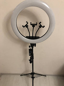Профессиональная кольцевая LED лампа 45 cм  3Х ,55 W , с штатив-треногой высота 210 см