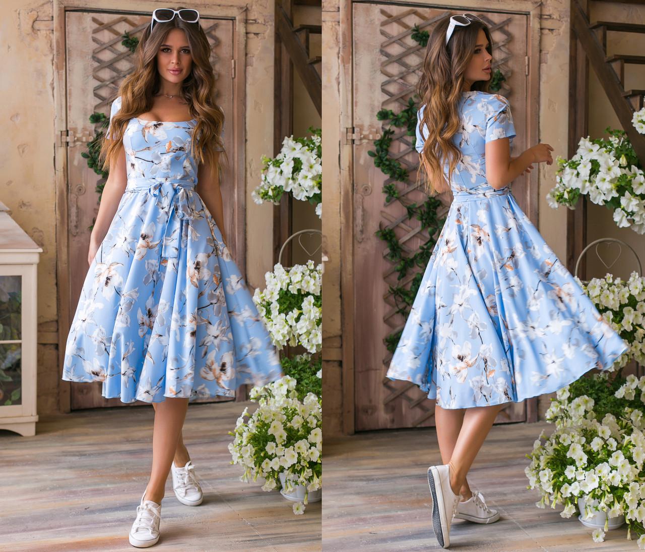 """Чарівне ошатне плаття середньої довжини 1217 """"Софт Орхідея Кльош Міді"""" в кольорах"""