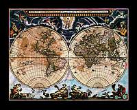 Старинная карта  мира 50см х 40см