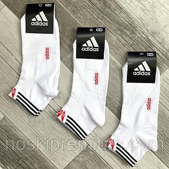 Носки мужские спортивные х/б с сеткой Adidas Athletic, размер 41-44, короткие, белые, 12607