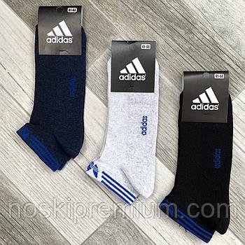 Носки мужские спортивные х/б с сеткой Adidas Athletic, размер 41-44, короткие, ассорти, 12606