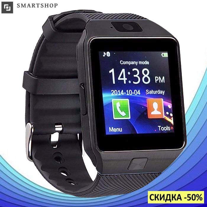 Умные часы Smart Watch DZ-09 Black - смарт часы под SIM-карту и SD карту (Черные) (s37)