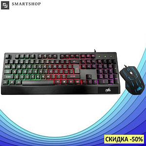 Клавиатура Zeus M710 + мышка. Русская проводная клавиатура с подсветкой. (s12)