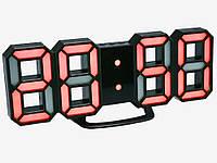 Настінний годинник 3D Digoo з будильником світлодіодні Чорний корпус Червоний
