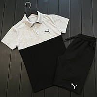 Мужская футболка тенниска поло с воротником и шорты пума (Puma), реплика