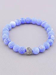 Браслет из Агата синий цвет круглые бусины на резинке длина  17 см (можно сделать парный)