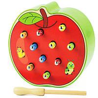 Деревянная игрушка Магнитная рыбалка «Гусенички» (яблоко), развивающие товары для детей.