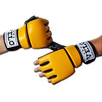 Перчатки боксерские кожаные желтые L, XL