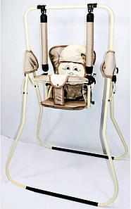 Качеля напольная Алинка белый каркас, бежевая материя, белый гномик SKL11-180103