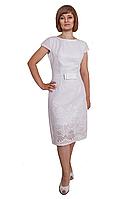 Стильное элегантное платье из хлопка с жемчугом на горловине и бантом, по низу платья шитье, большие размеры