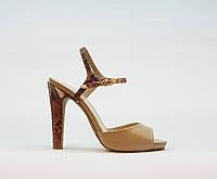 Босоножки женские натуральная кожа на высоком каблуке конусовидном бежевые, фото 1