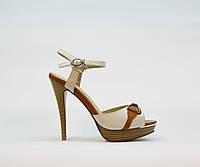 Босоножки женские искусственная кожа белые на высоком каблуке шпилька и платформе, фото 1