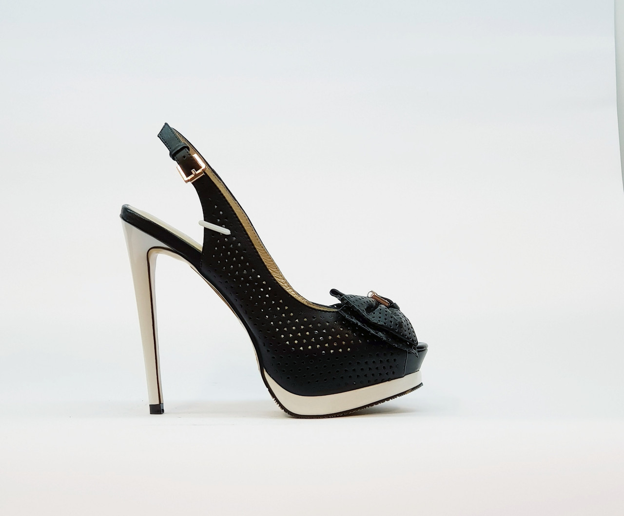 Босоножки женские из натуральной кожи на высоком каблуке шпилька и платформе черный