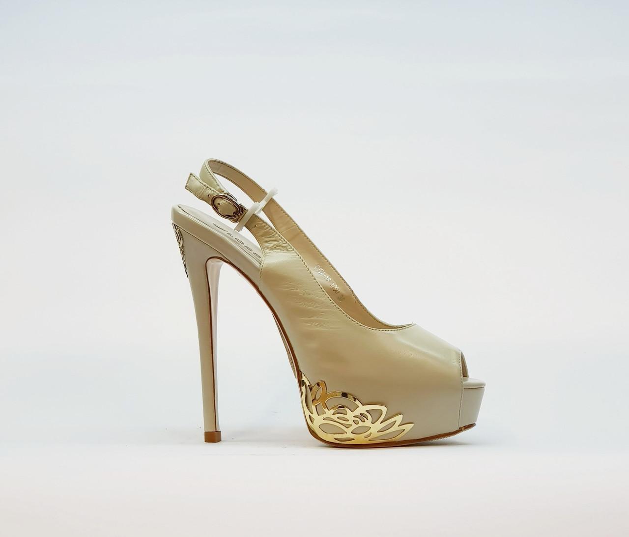 Босоножки женские бежевые из натуральной кожи на высоком каблуке шпилька и платформе 38