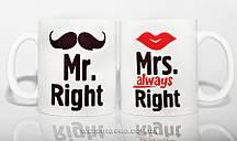 Набор оригинальных чашек Mr & Mrs, 300 грн.