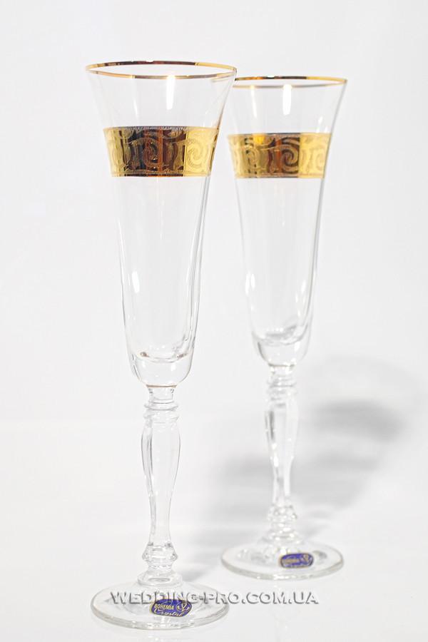 Бокалы богемское стекло c золотым орнаментом