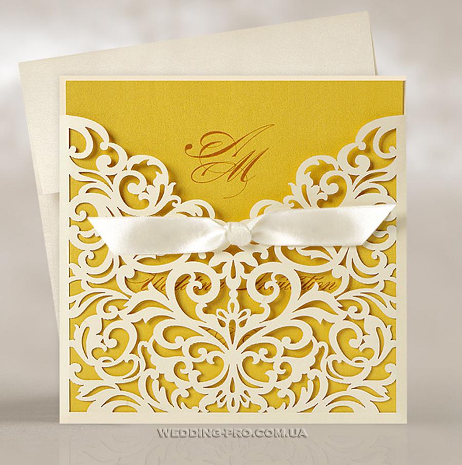 Роскошные свадебные пригласительные с королевским узором, золото