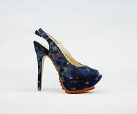 Босоножки женские текстильные на высоком каблуке шпилька и платформе каблуке синие, фото 1