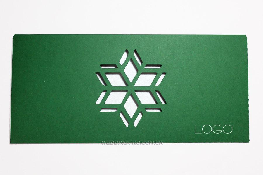 """Открытка """"Снежинка"""" с логотипом"""