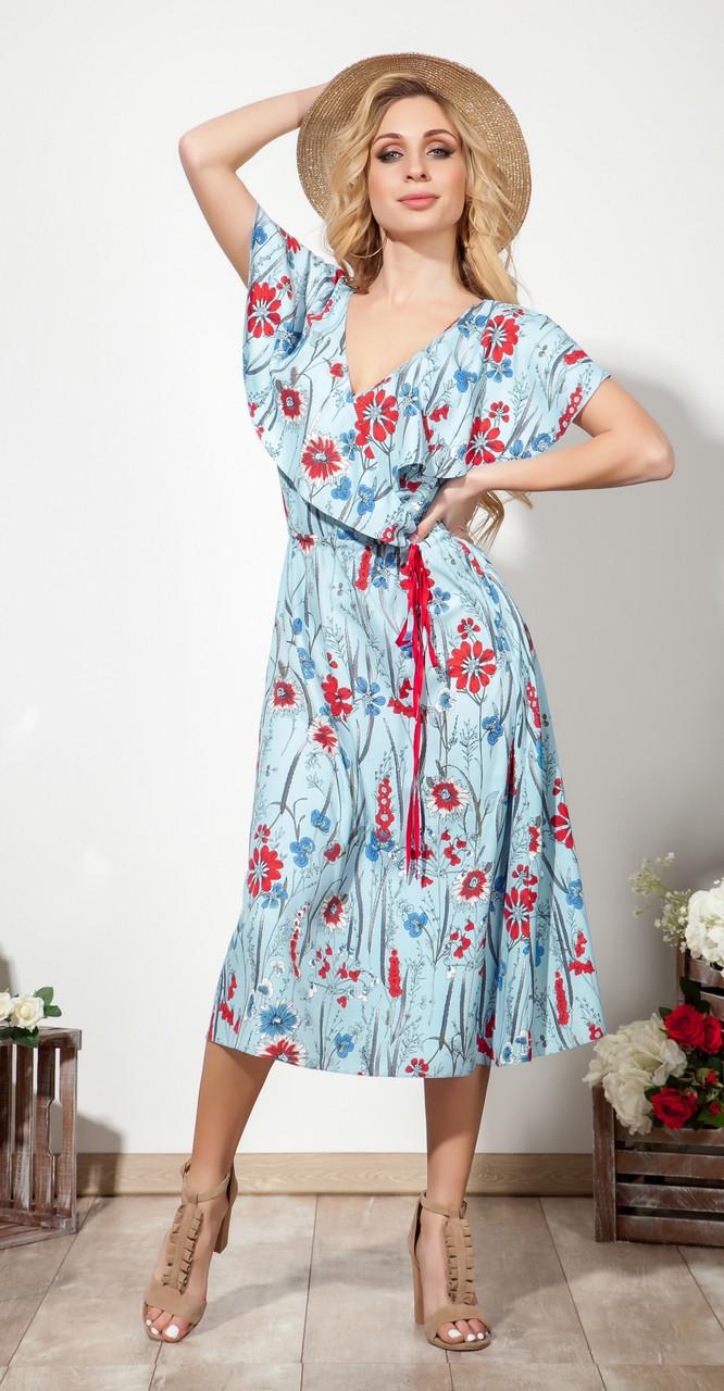 Платье DilanaVIP-1554 белорусский трикотаж, голубой, 46