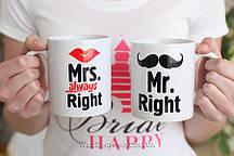 """Необычные парные чашки с надписью """"Mr & Mrs """", 300"""