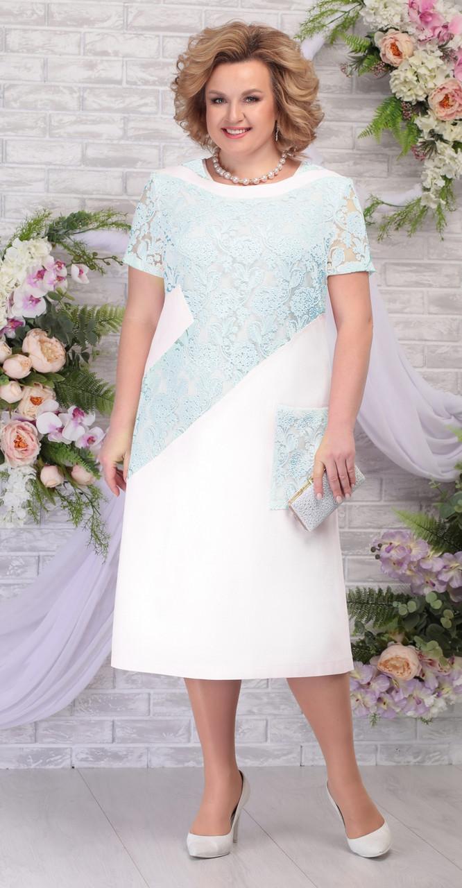 Платье Ninele-5810/1 белорусский трикотаж, молоко+светло-зеленый, 54