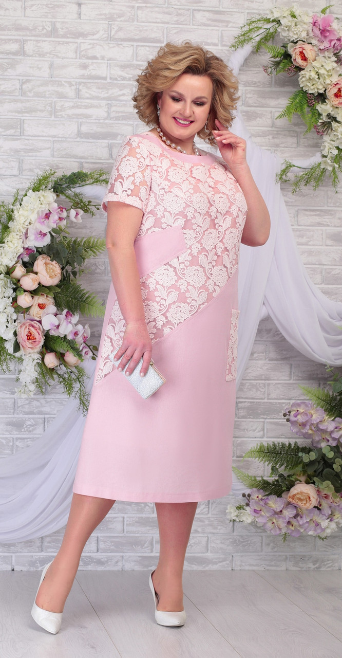 Платье Ninele-5810/2 белорусский трикотаж, пудра-пудра, 54