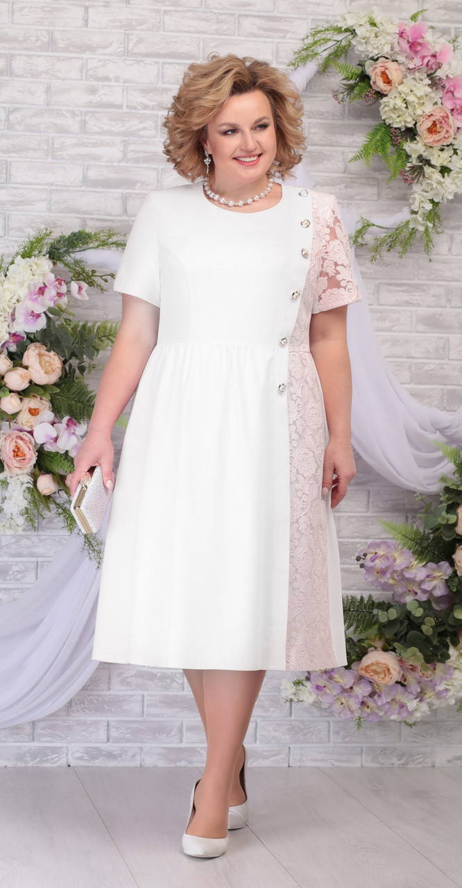 Платье Ninele-7285 белорусский трикотаж, молоко-пудра, 48