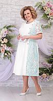 Платье Ninele-7285/1 белорусский трикотаж, молоко+светло-зеленый, 48