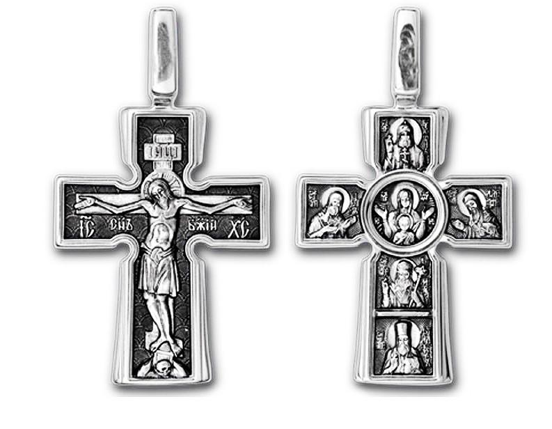 """Крест серебряный Распятие. Божия Матерь """"Воплощение"""". Пять святителей 039"""