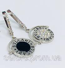 Родированые срібні сережки на дві сторони Бренд