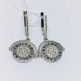 Родированые серебряные сережки на две стороны Бренд, фото 2