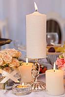 Весільні свічники з сердами у стразах